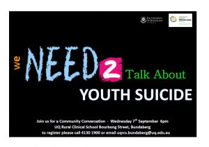 Community Conversation - We need to talk about Youth Suicide @ University of Queensland Rural Clinical School | Queensland | Australia