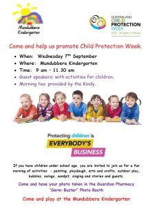 Mundubbera Kindy Child Protection Week Activity Morning @ Mundubbera Kindergarten  | Mundubbera | Queensland | Australia
